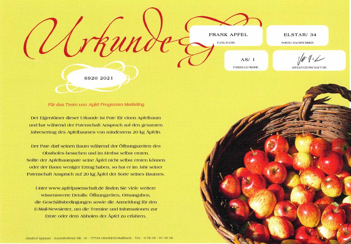 APM startet Apfelpatenschaft